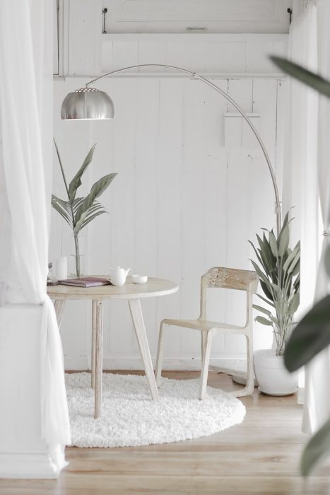 all white eating area minimalist interior design