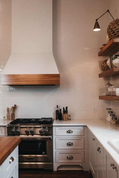 all white kitchen minimalist interior design open shelves