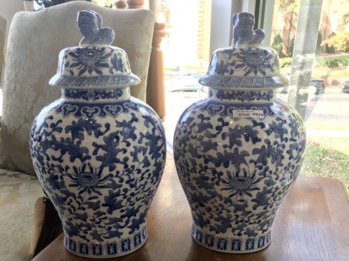Foo Dog Lidded Blue and White Vases