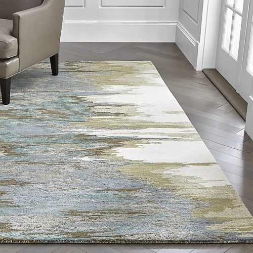 Crate and Barrel Birch Cyan abstract painterly rug interior design trends