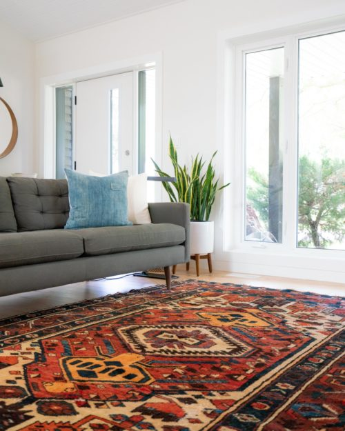bold rug mid century couch