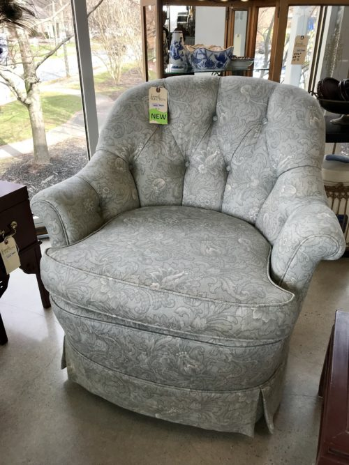 Floral Green Swivel Chairs Pair