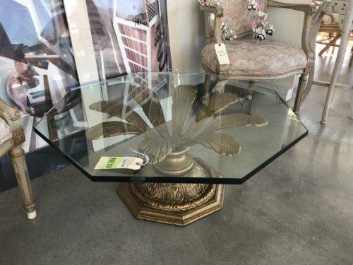 Flower Brass Glass Table