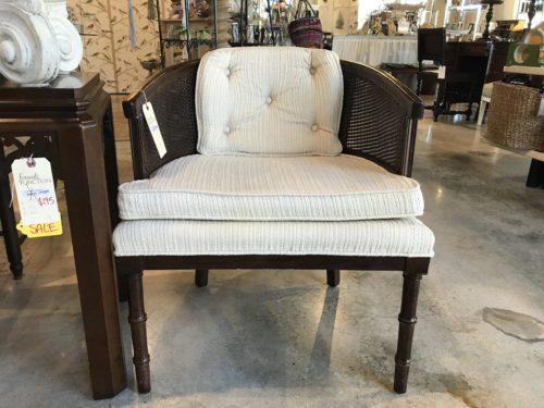 White Cane Barrel Chair