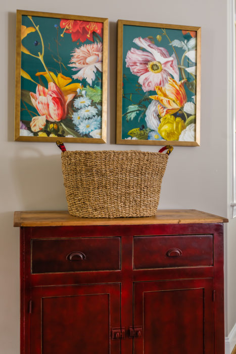 red painted farmhouse style chest colorful floral art