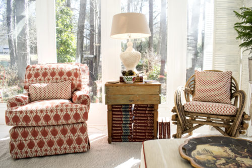 red and white fabric traditional family room design