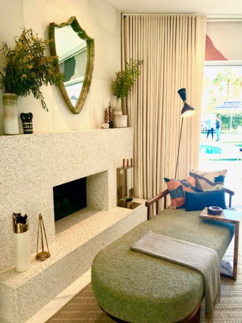 minimalist modern terrazzo fireplace design