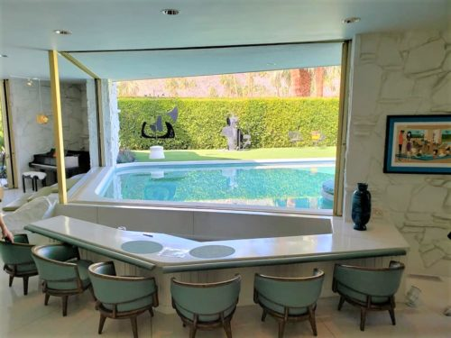 mid century modern architecture open living room pool area