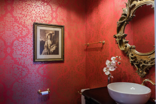red damask wallpaper red powder bathroom