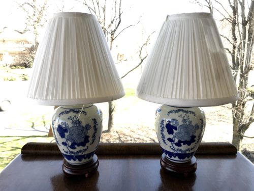 Mini Blue and White Lamps