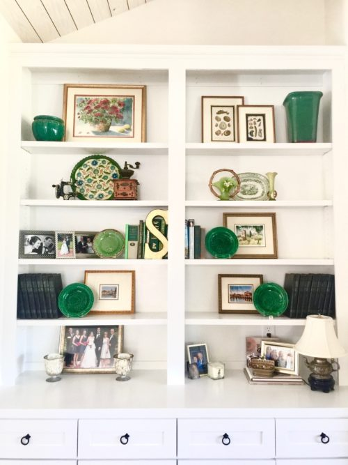 bookshelf styling redesign colorful accents