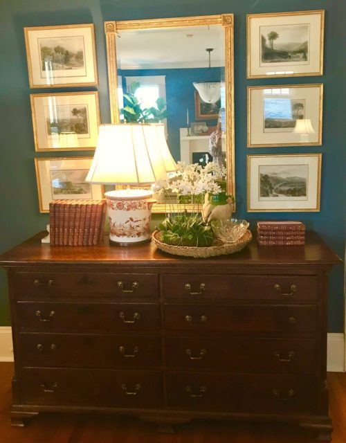 foyer entry way antique dresser lithograph art