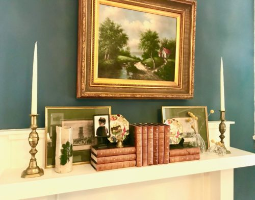 fireplace mantel styling art books accessories