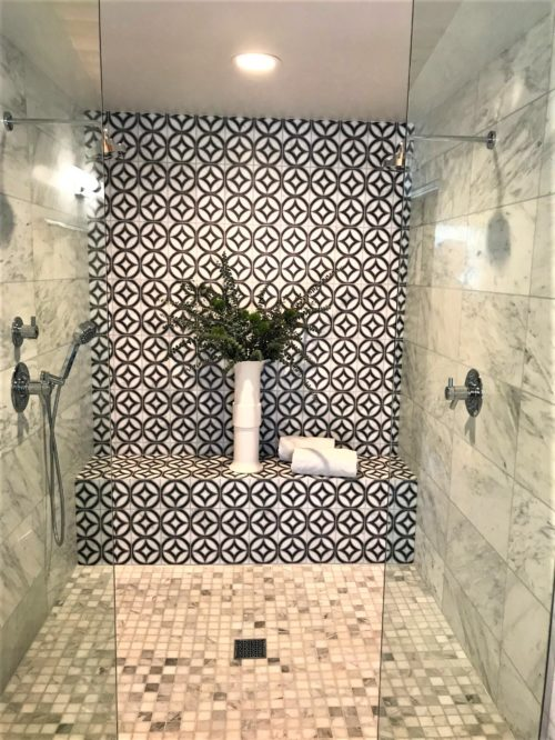 modern master bathroom graphic tile