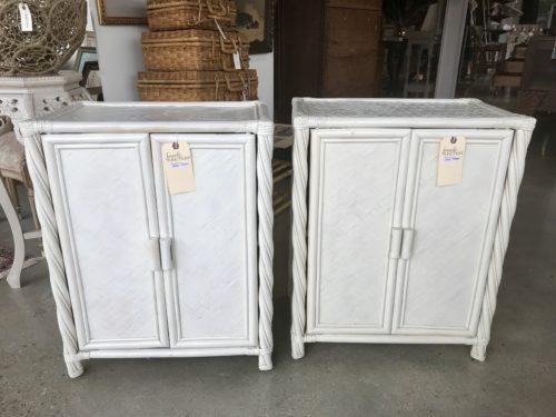 White Rattan Cabinet