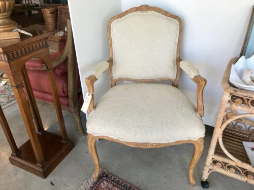 White Crewel French Chair