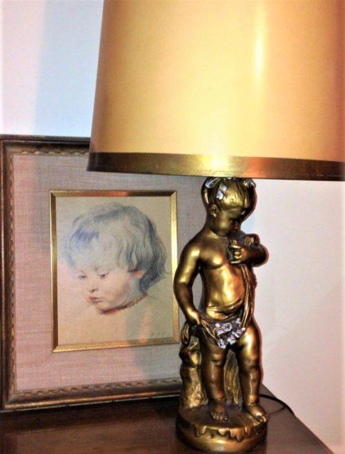 cherub art gilded gold cherub lamp