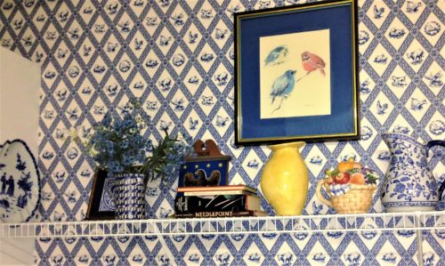 blue and white wallpaper pottery accessories bird art