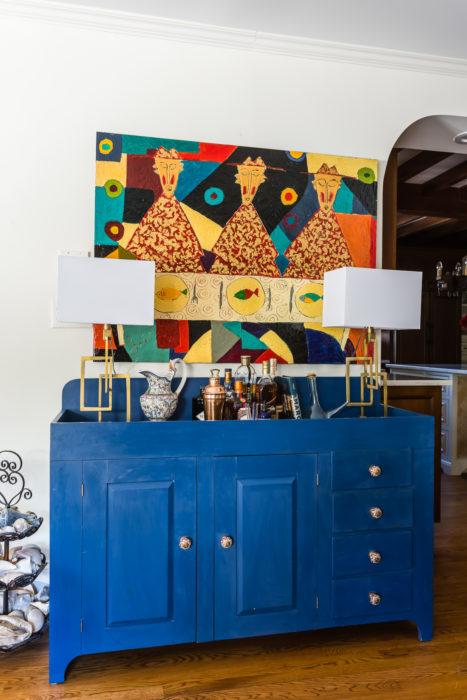 cobalt blue dry sink sideboard bar set up