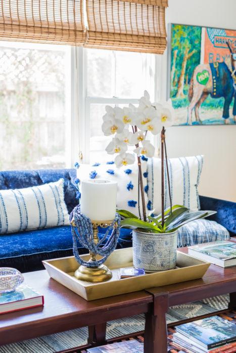 modern art blue velvet sofa