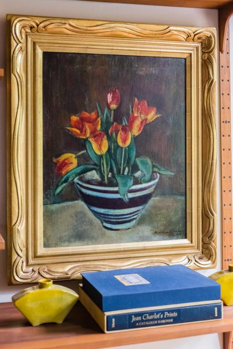 mid century modern art oil painting