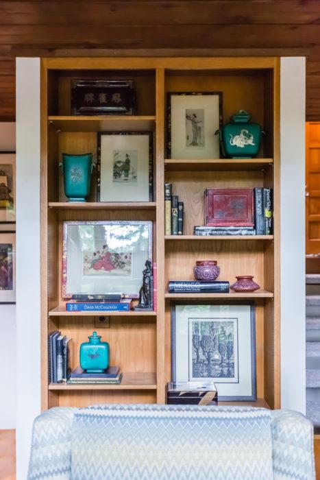 mid century modern built-in bookshelves