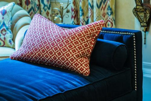 red white ikat geometric pillow blue velvet chaise lounge