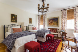 red white and blue spanish style design bedroom