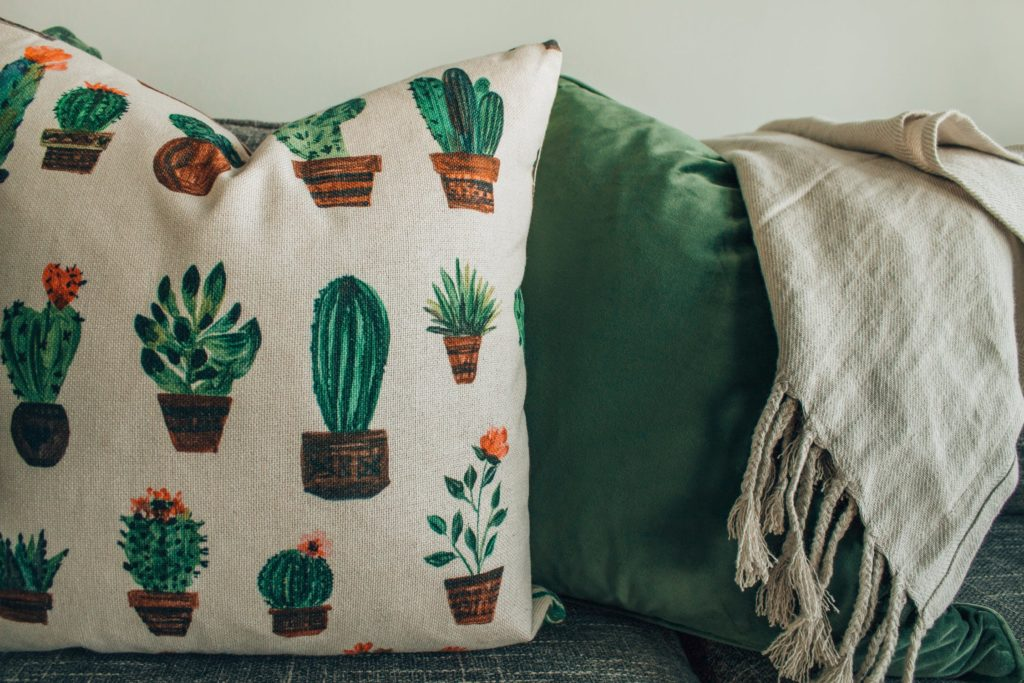 cactus fabric pillow