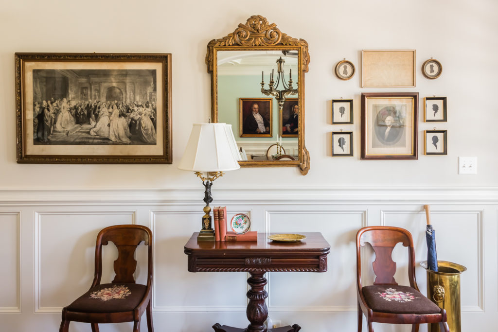 antique art lithographs foyer entrance