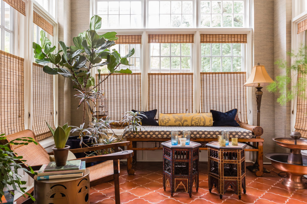 spanish interior design sunroom terracotta tile floors
