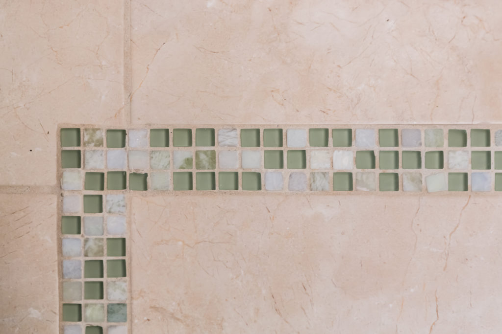stone glass accent tile bathroom floor