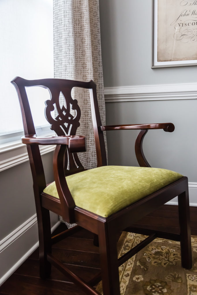 dining room chartreuse fabric traditional chippendale chair