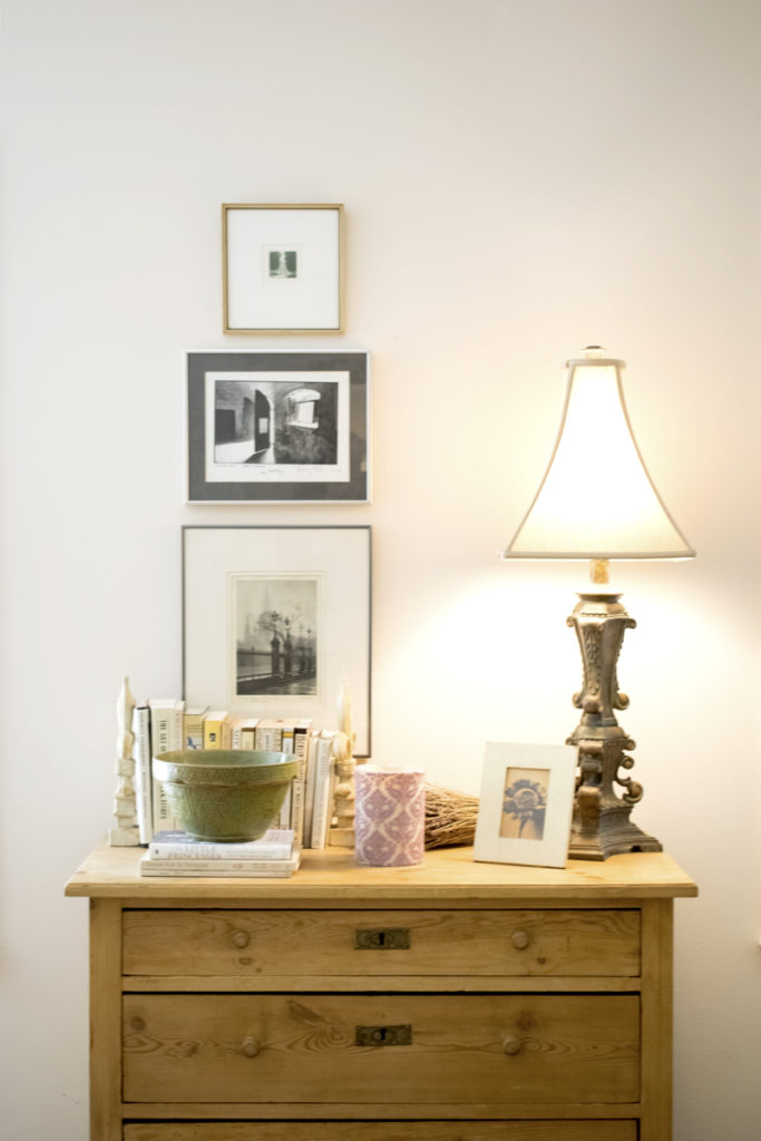 bedroom dresser styling art hanging