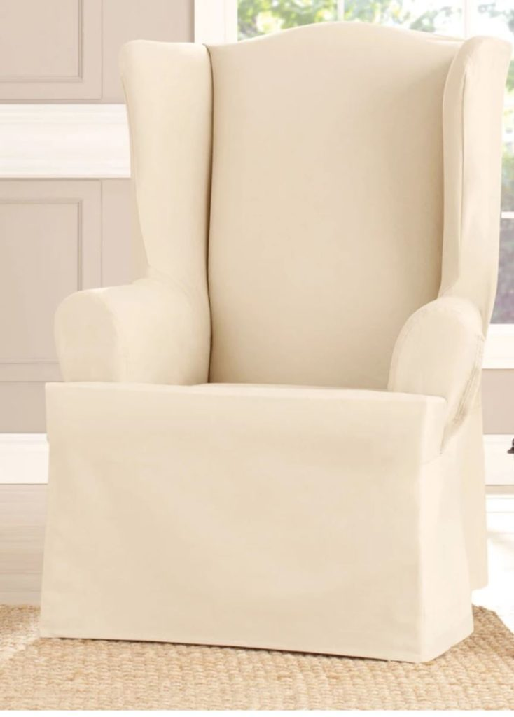 cotton duck wing chair slip cover