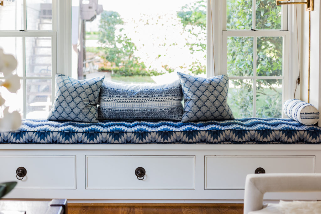 blue and white hand block fabric built-in window seat