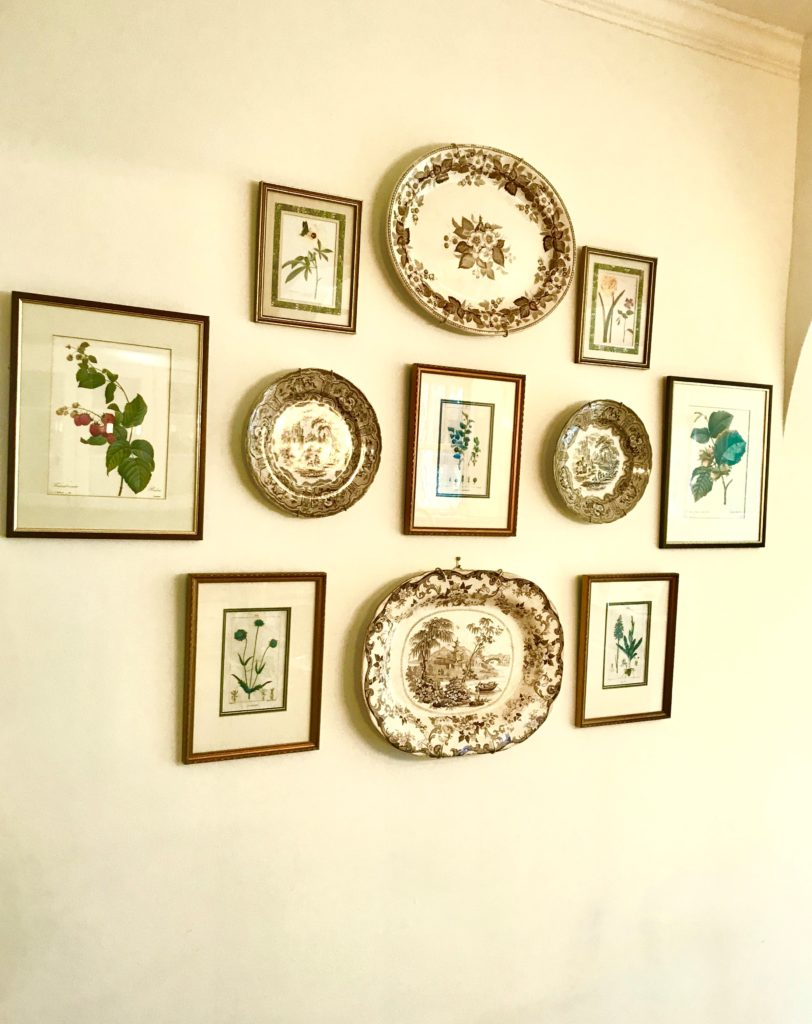 botanical print art collection vintage china plates art hanging