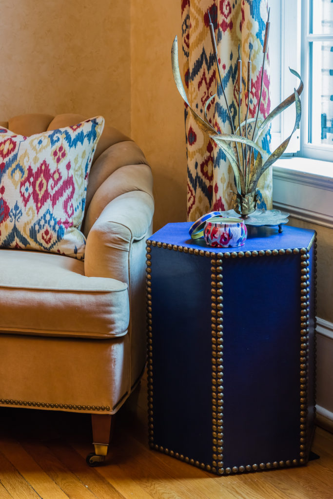 nailhead trim accent side table