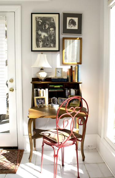 Antique Writing Desk Red Bistro Chair Wall Art