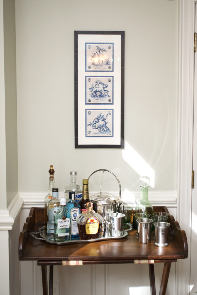 butler serving tray table bar set up