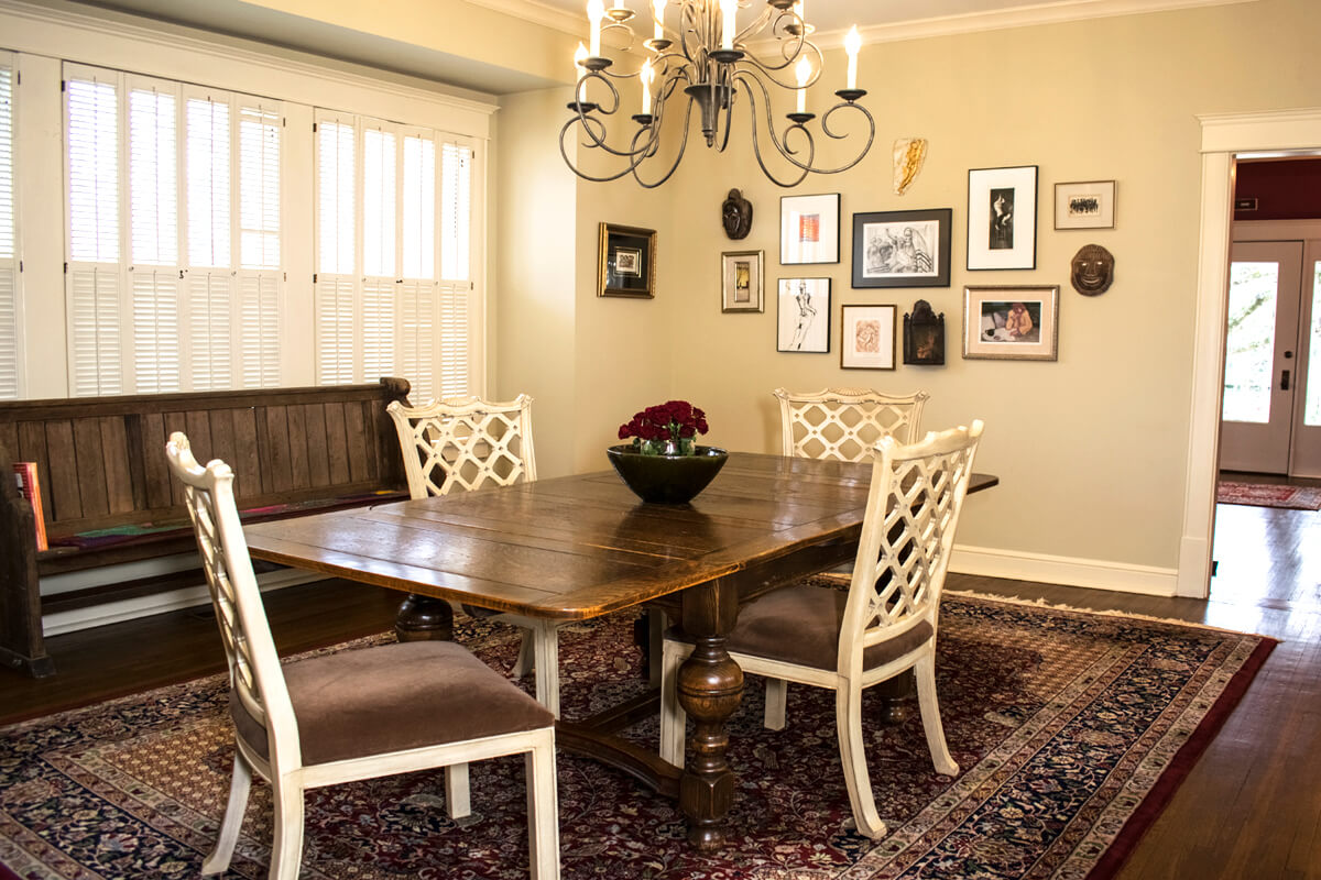 Dining Room English Pub Table White Chairs Church Pew Gallery Wall