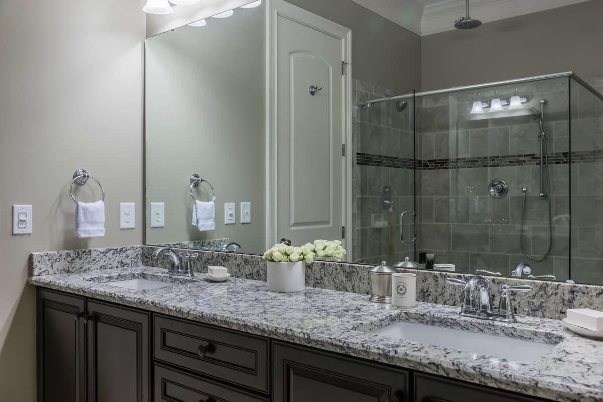 Double Sink Vanity Brown Black And White Granite