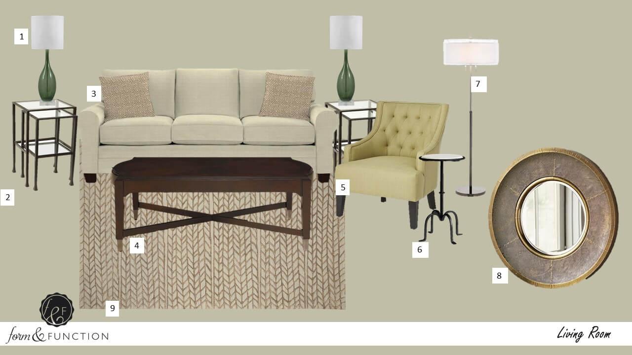 Elegant Transitional Living Room Option 1