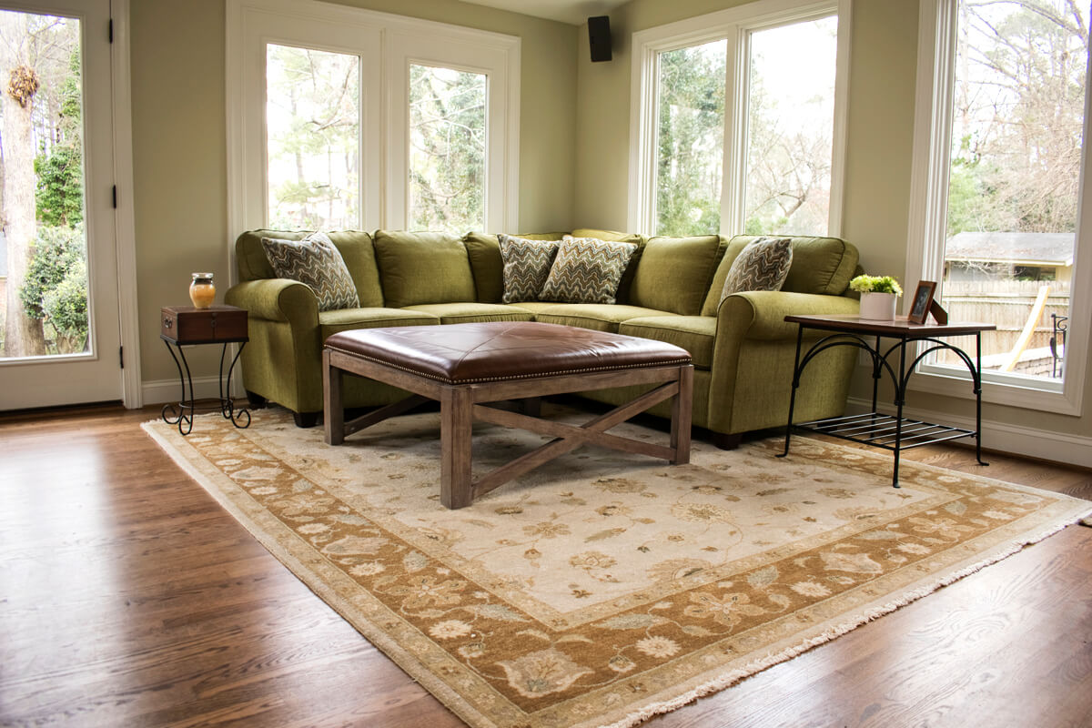 Family Room Sectional Sofa Leather Ottoman