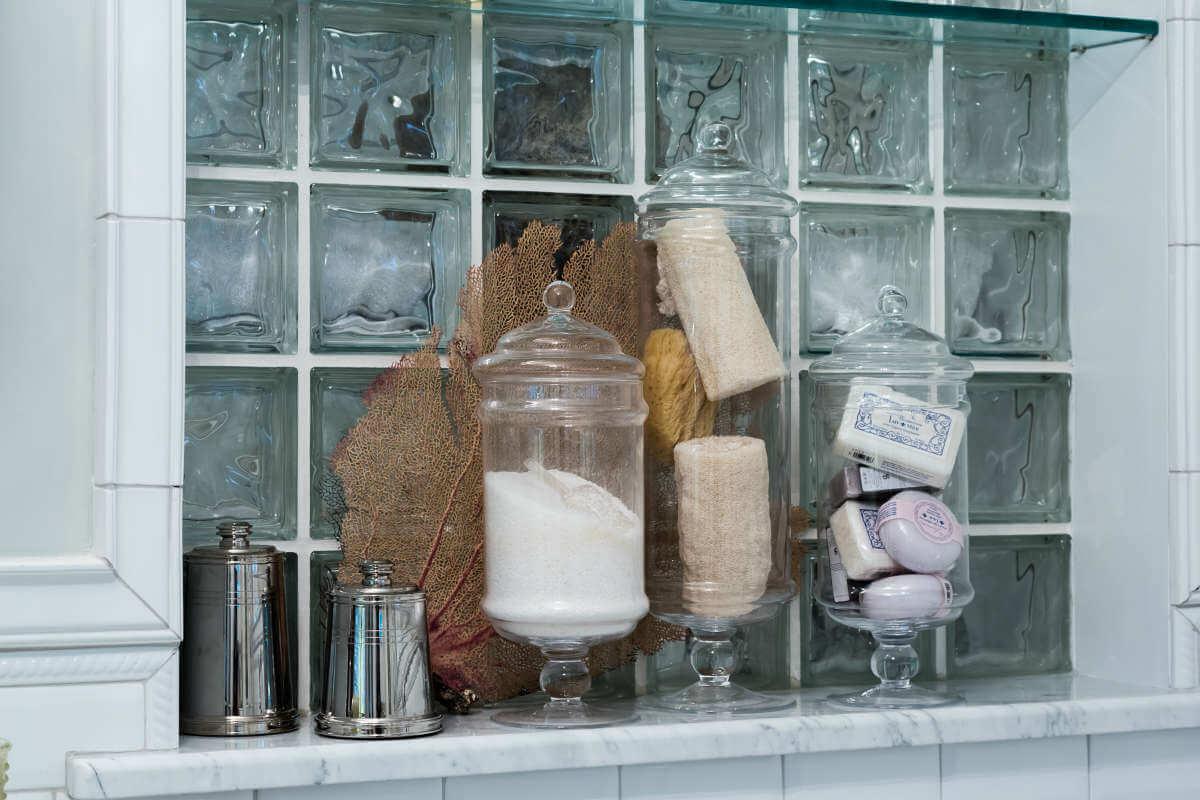 Glass Block Shelf Over Tub
