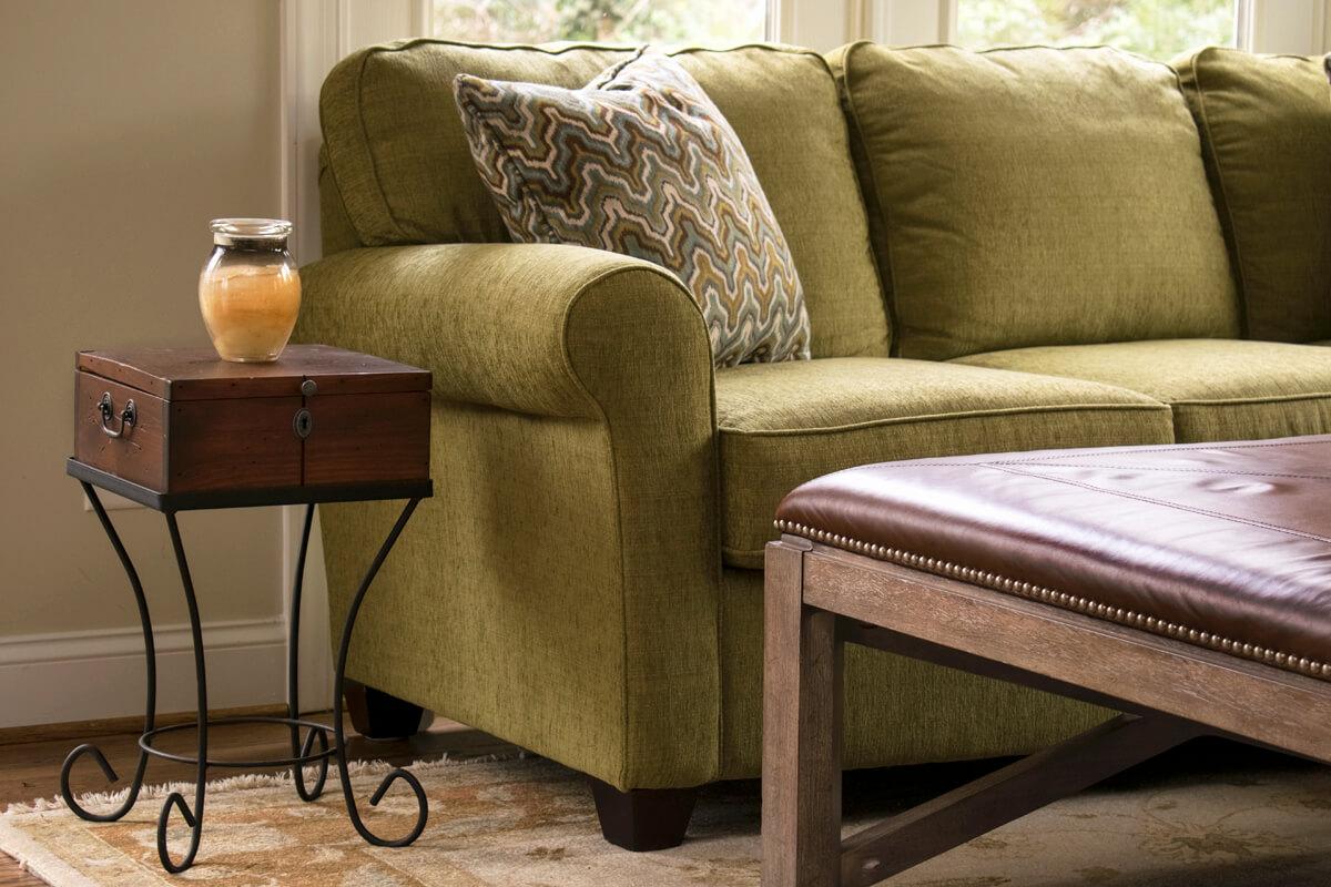 Green Sofa Leather Ottoman
