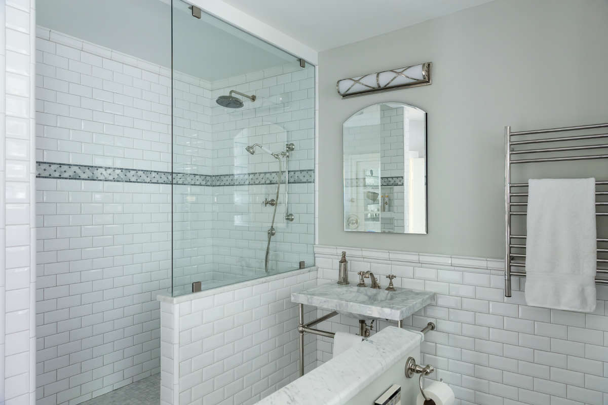 Master Bath Design With No Door Shower