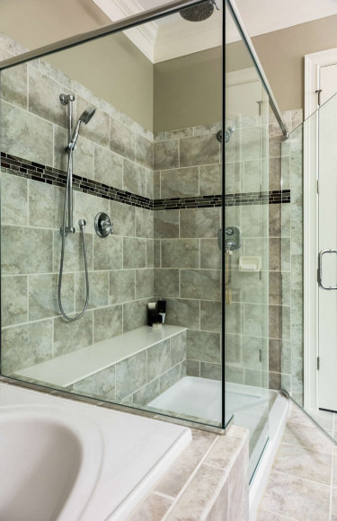 Master Bathroom Glass Enclosed Shower With Seat