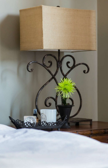 Master Bedroom Bedside Table With Iron Lamp