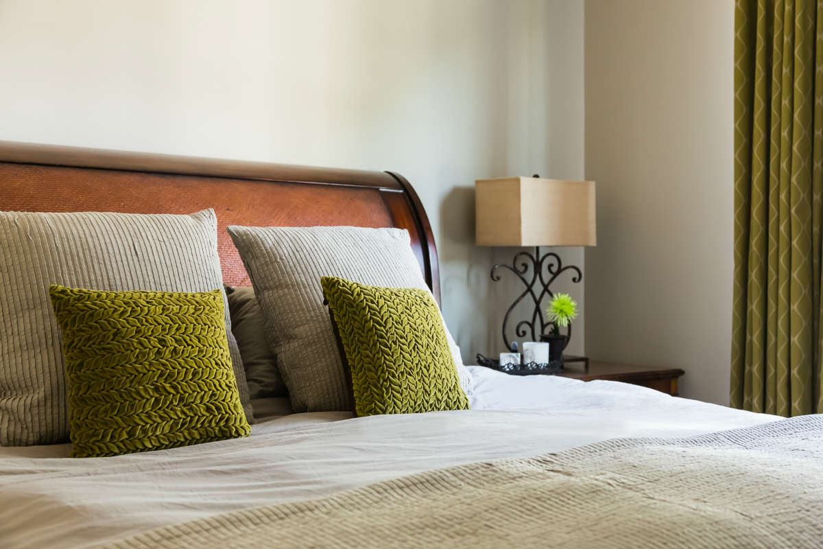 Master Bedroom Chartreuse Custom Pillows And Drapery